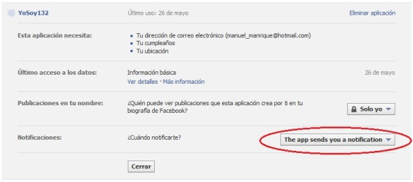 "Ahora oprima el botón ""The app sends you a notification""."