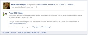 Recomendación para protegerse de la aplicación YoSoy132.mx